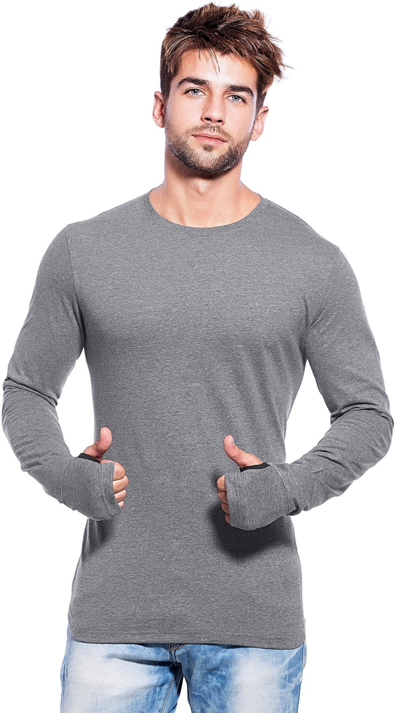 Maniac solid men 39 s round neck grey t shirt buy dark grey for Full sleeves t shirts for men