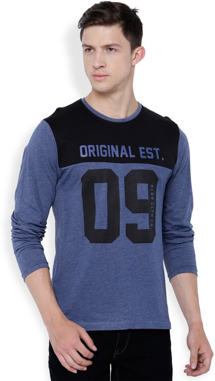 Black t shirt on flipkart - Black T Shirt Flipkart Highlander Printed Men S Round Neck Blue Black T Shirt