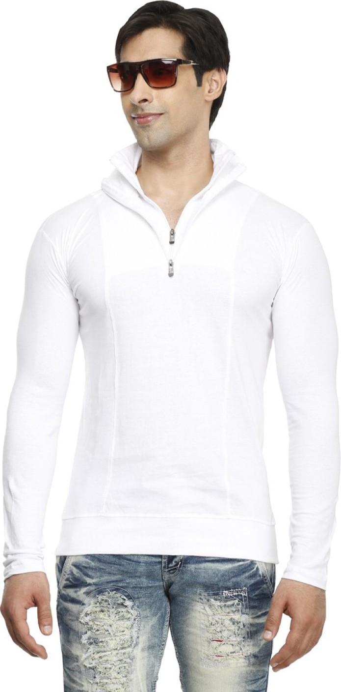 Tees Collection Solid Men's Polo Neck White T-Shirt