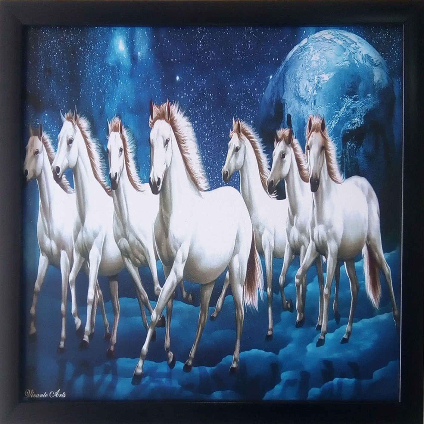 art collection seven 7 white horses running ink