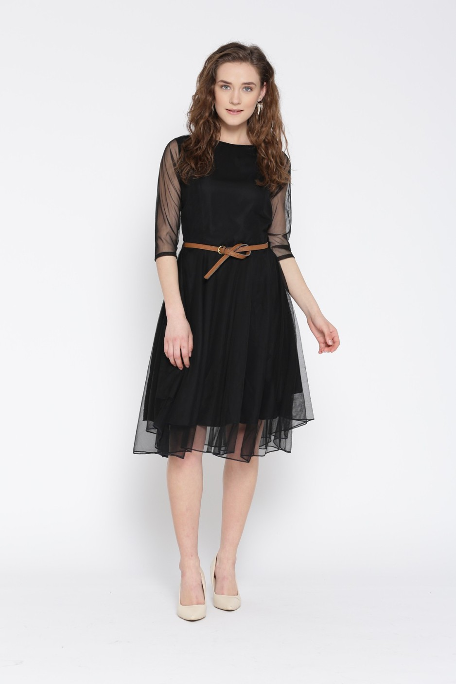 U&F Women's Fit and Flare Black Dress