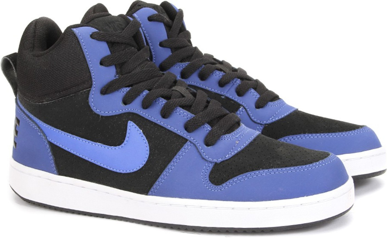 nike court borough mid sneakers for men buy black paramount blue white color nike court. Black Bedroom Furniture Sets. Home Design Ideas