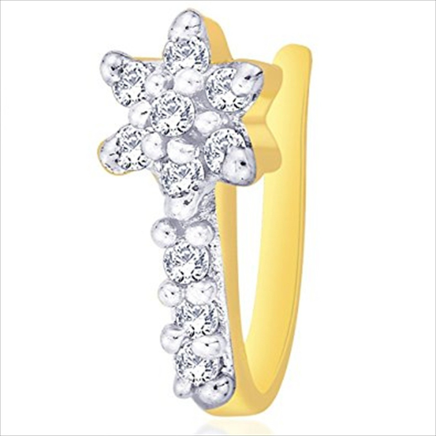 Oviya Cubic Zirconia 24k Yellow Gold Plated Alloy Nose