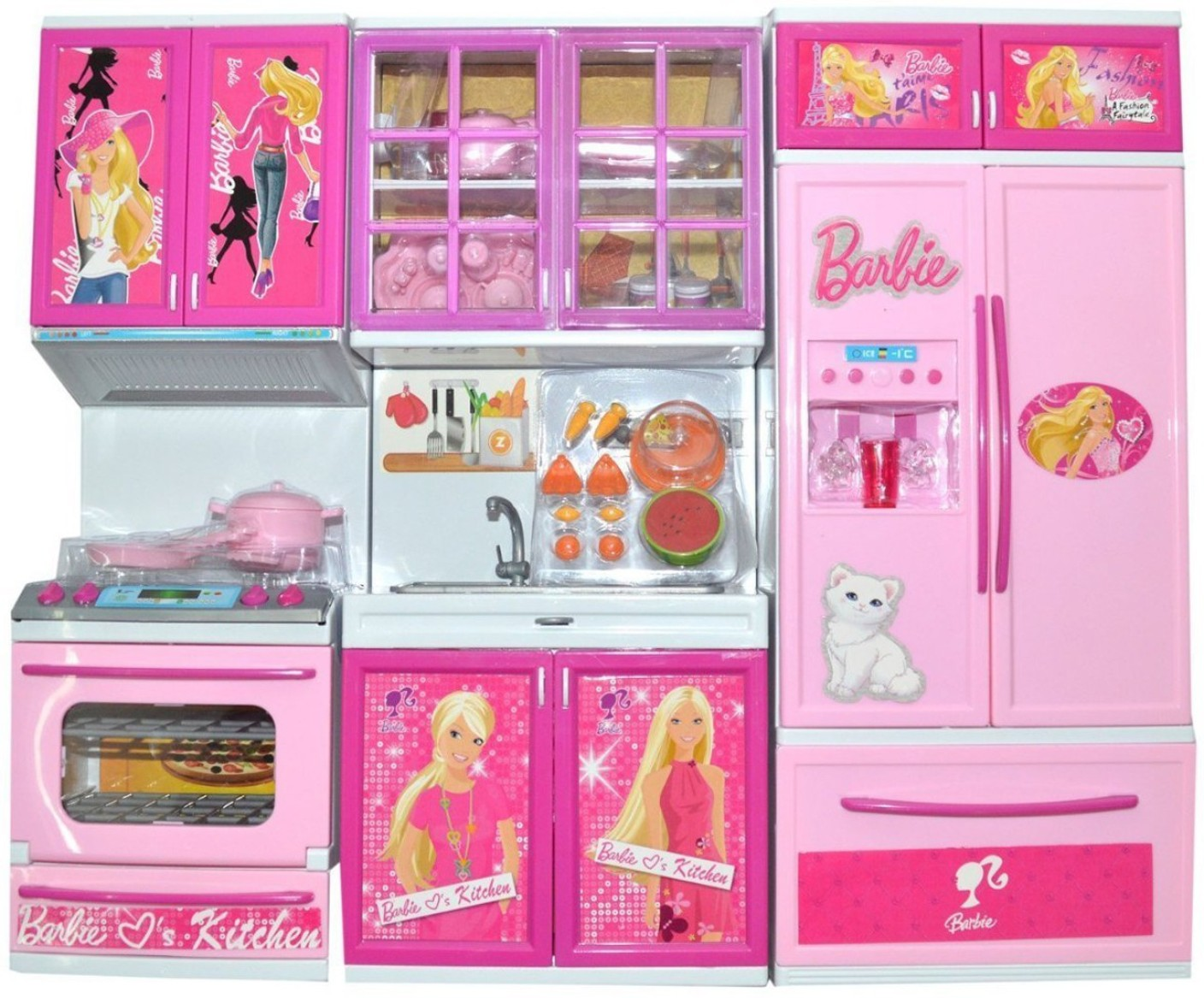techhark battery operated barbie 3 compartment kitchen set for