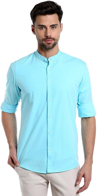 Dennis Lingo Men's Solid Casual Light Blue Shirt - Buy ...