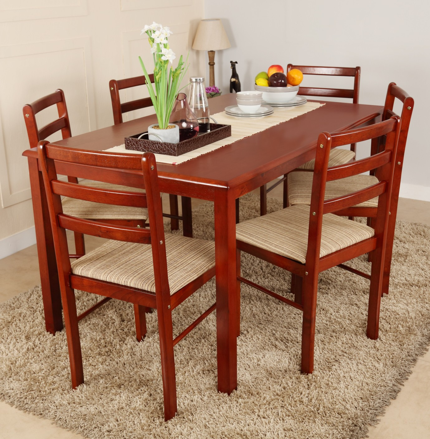 Woodness Solid Wood 6 Seater Dining Set Price in India  Buy Woodness Solid Wood 6 Seater Dining