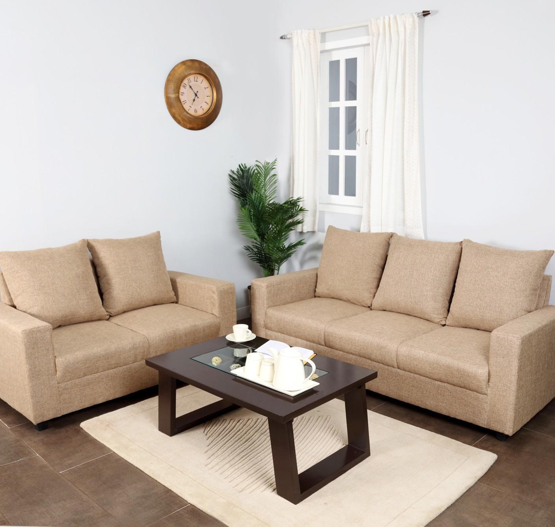 Settee Sofa Furniture Prices In India: Furnicity Fabric 3 + 2 Beige Sofa Set Price In India