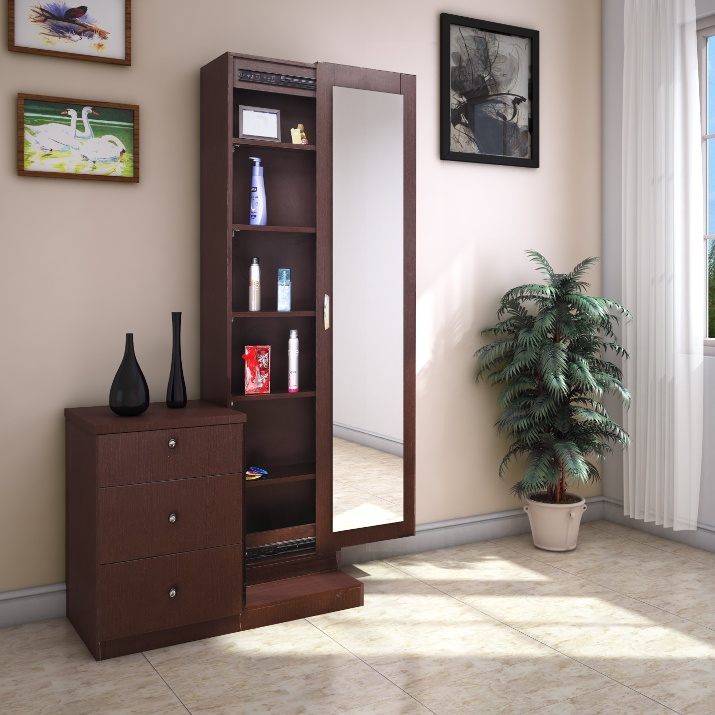 Furnicity Engineered Wood Dressing Table Price In India