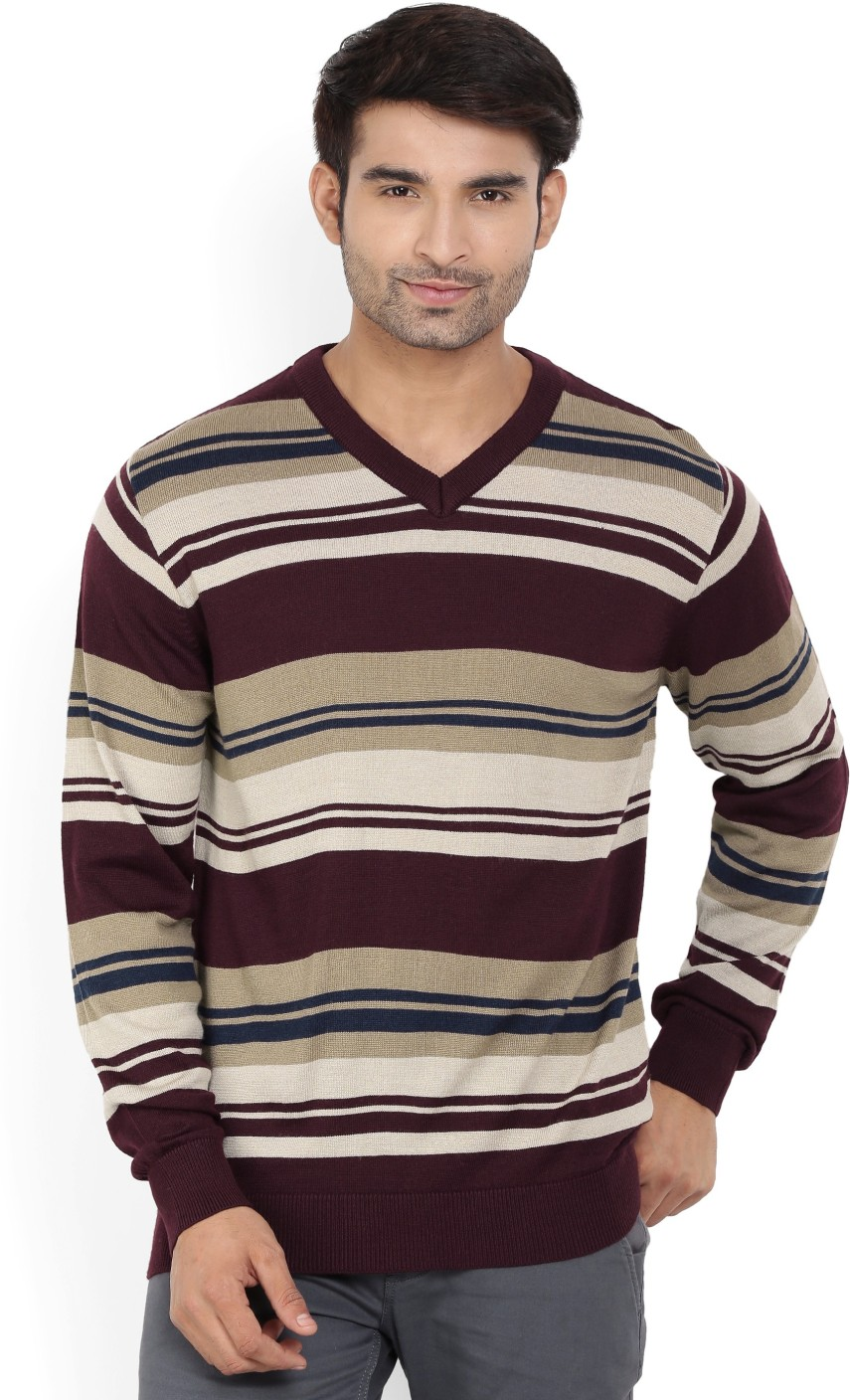 Raymond Striped V-neck Casual Men Maroon Sweater - Buy Dark Maroon ...