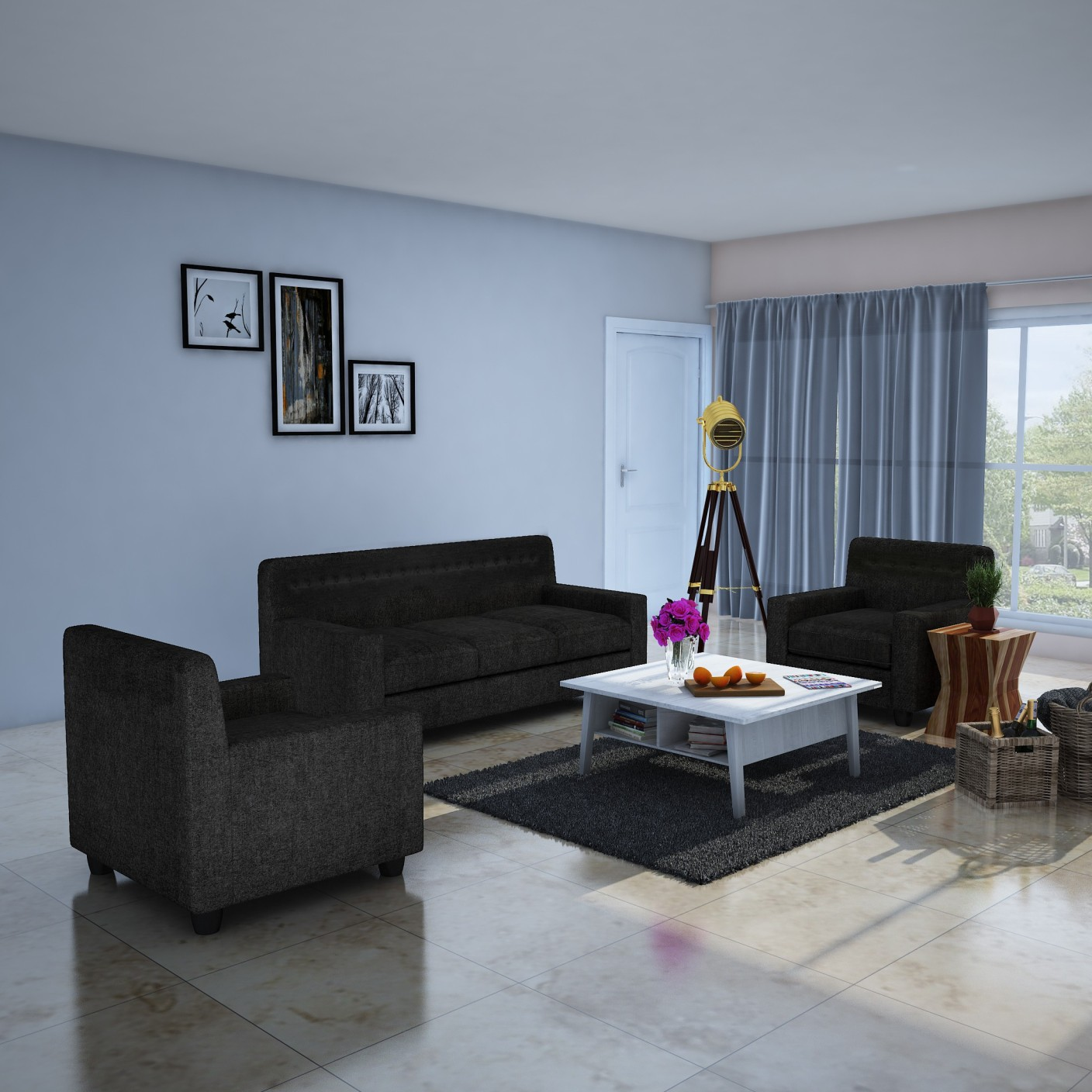 Dolphin Solitaire Fabric 3 1 1 Grey Sofa Set Price in India