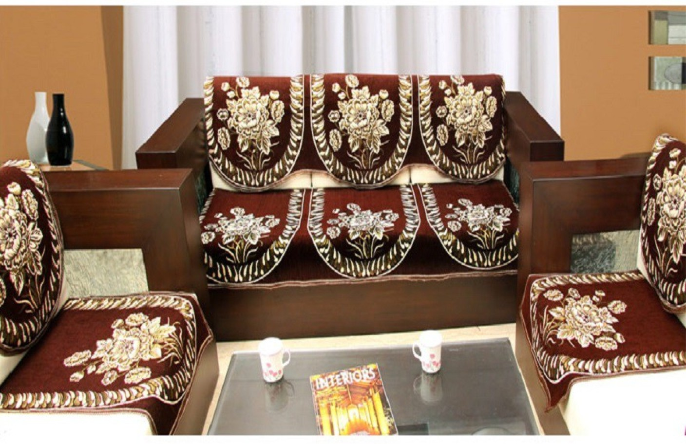 Zesture Jacquard Sofa Cover Price In India Buy Zesture