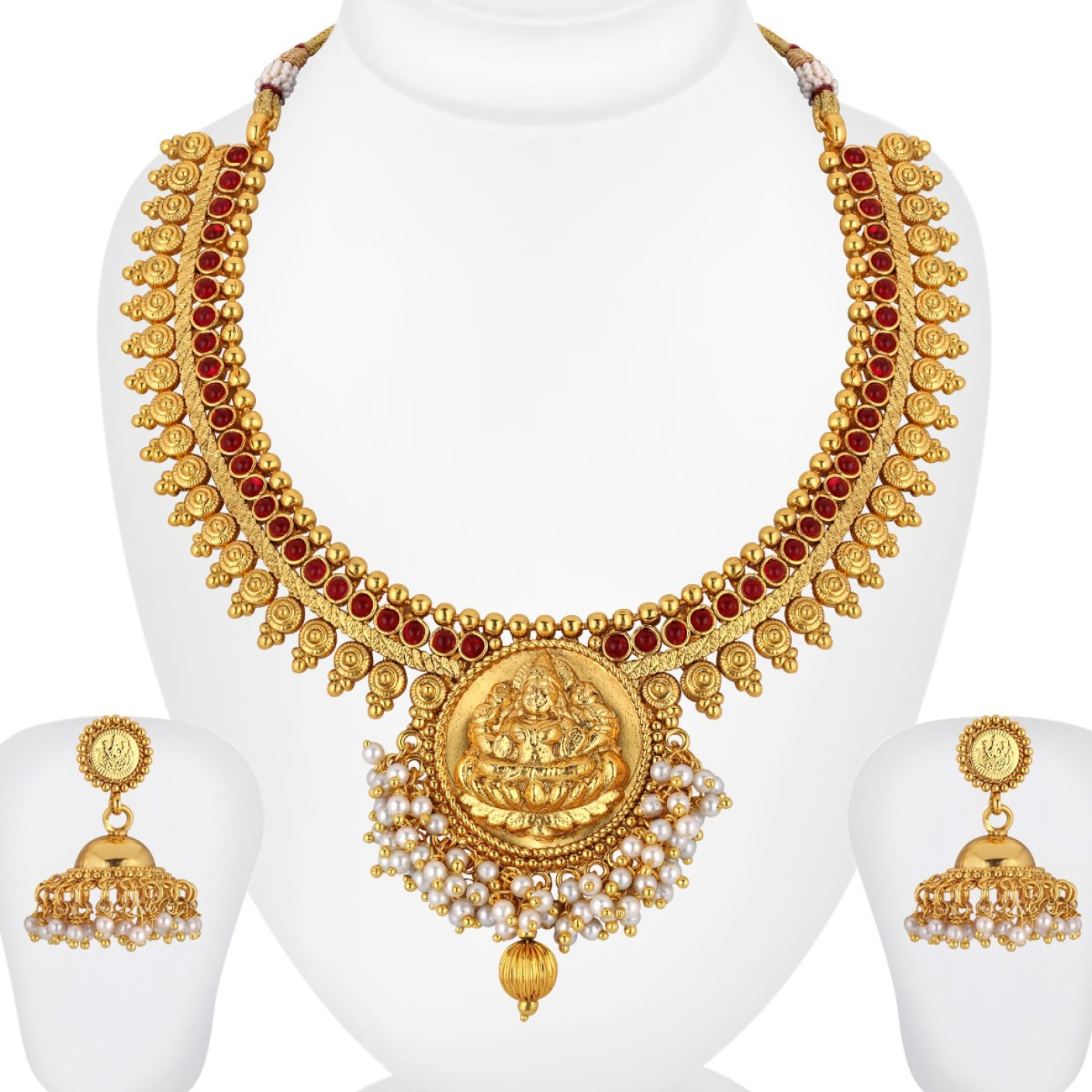 Indian Gold Jewellery Necklace Designs With Price: Spargz Brass Jewel Set Price In India