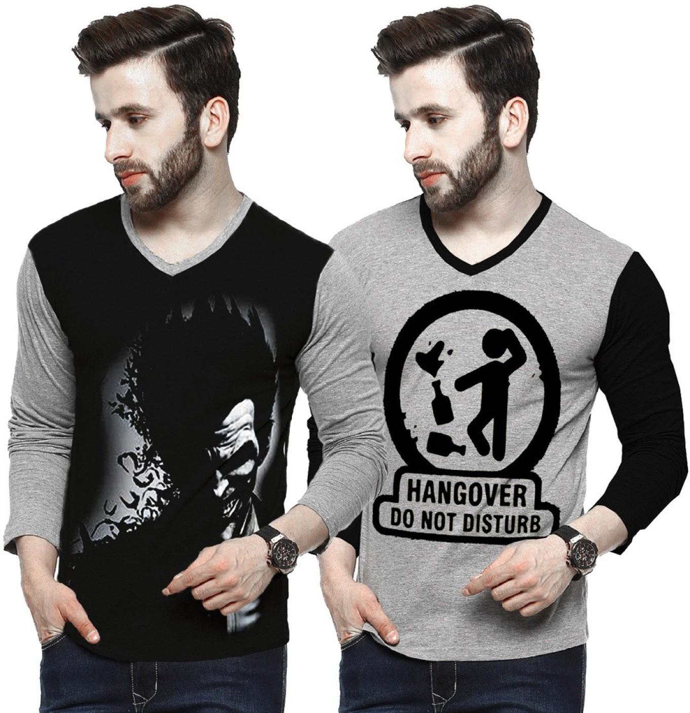 Tripr printed men v neck multicolor t shirt buy tripr for Best online custom shirts