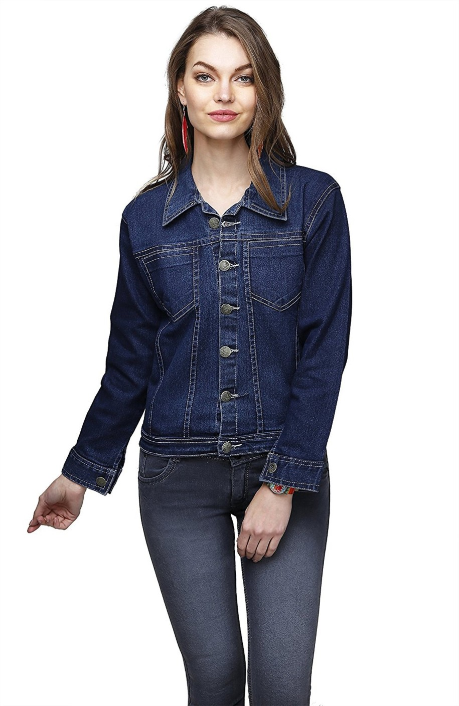 ganga full sleeve solid women's denim jacket  buy dark
