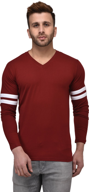 Kay dee solid men 39 s v neck maroon t shirt buy kay dee for Maroon t shirt for men