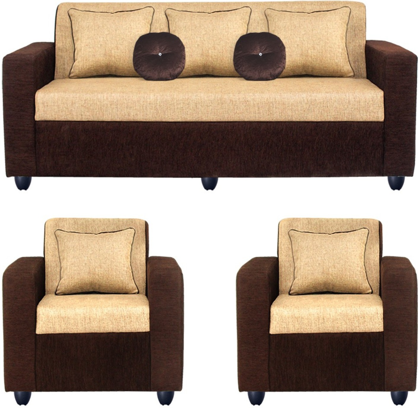 Bharat lifestyle fabric 3 1 1 cream sofa set price in - Living room sets for cheap prices ...