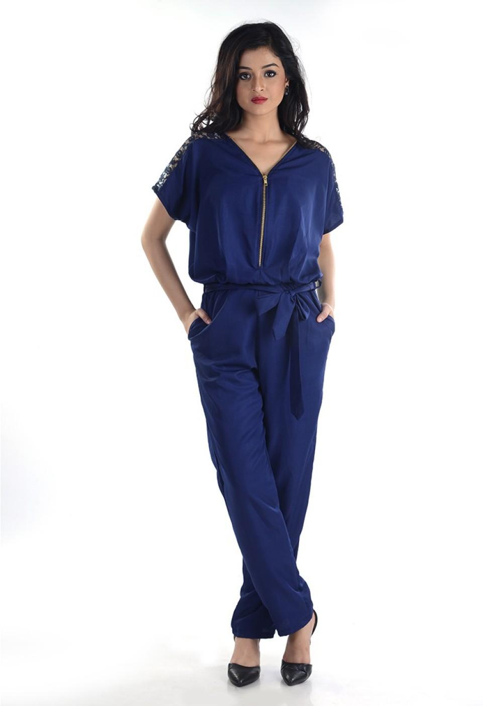 d186cdc86b1 Veakupia Solid Womenu0026 39 s Jumpsuit - Buy Navy Veakupia Solid Womenu0026  39