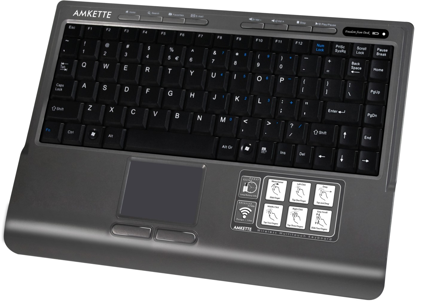 Amkette Wi Key Touch With Multi Touchpad Wireless Laptop