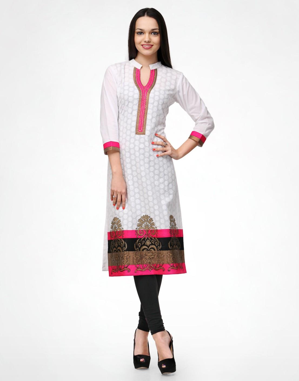 Shakumbhari Self Design Women's Straight Kurta - Buy WHITE ...