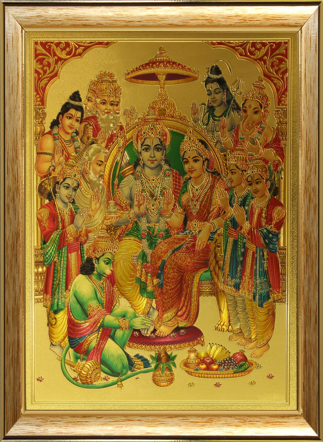 Saf Ram Darbar In Golden Foil Canvas Painting Price In