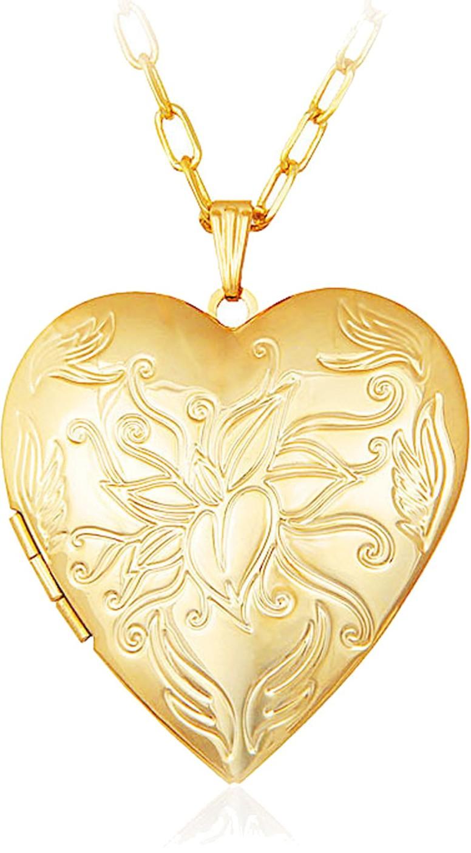 Via Mazzini Heart Photo Locket Pendant (NK0396) 18K Yellow Gold ...