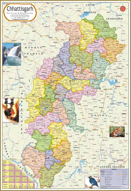 Chhattisgarh Map Political Paper Print Maps Posters In