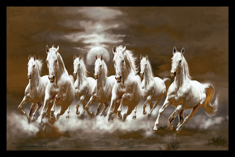 pos408 auspicious seven horses fine art print art