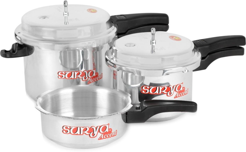 Surya Accent Super Saver combo pack 5 L, 3 L, 2 L Pressure Cooker ...