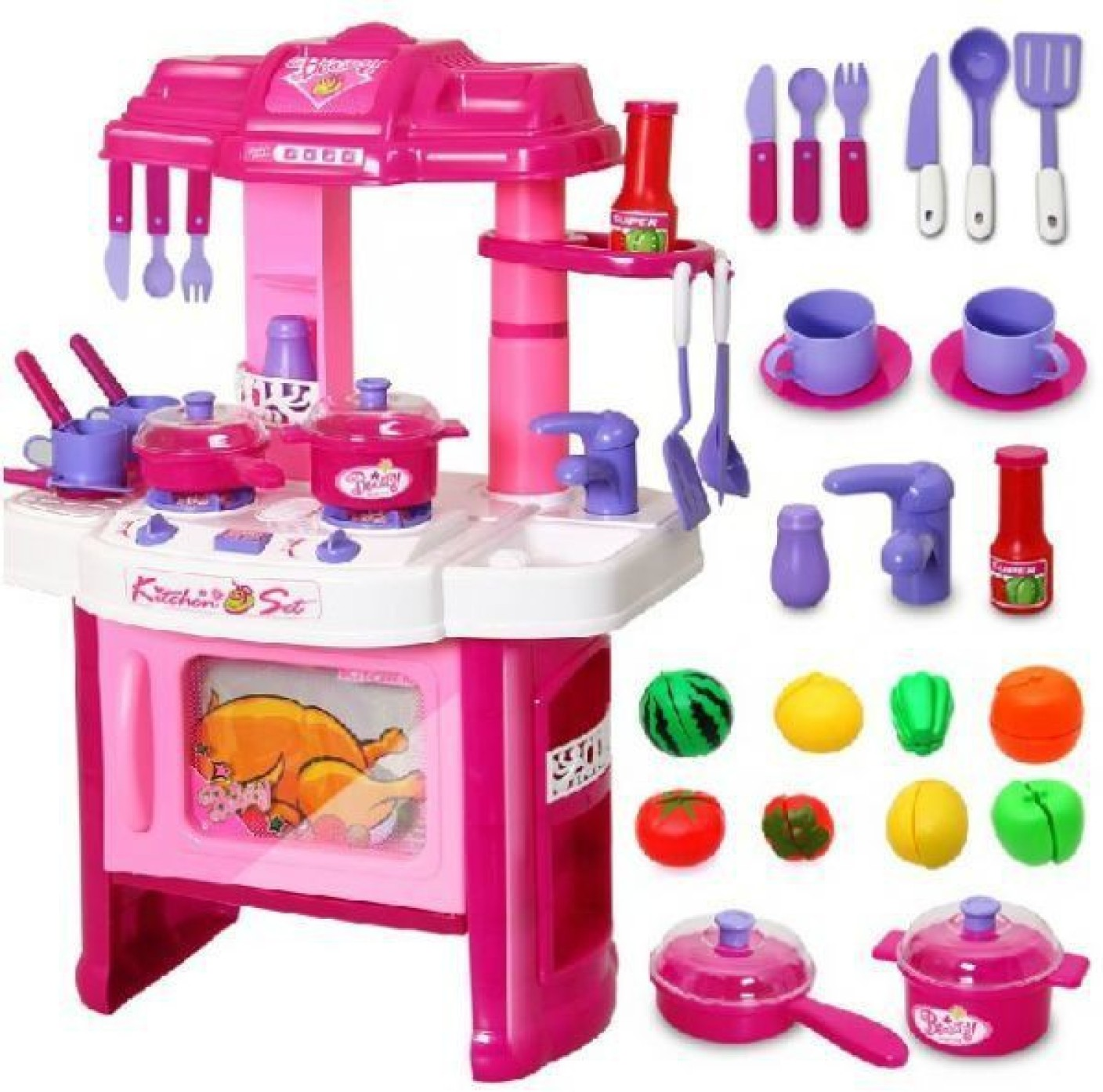 Play king big kitchen cook set toy kids play pretend for Kitchen set from the 90 s