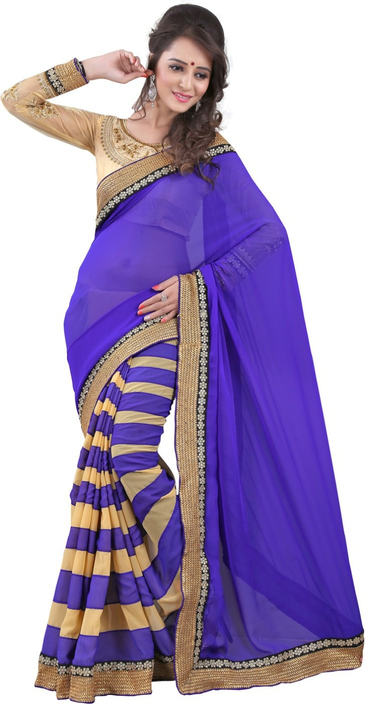 Buy Bunny Sarees Striped Fashion Georgette Blue Sarees ...