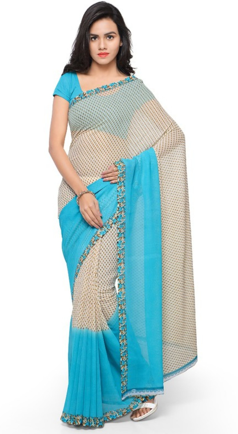 Buy Anand Sarees Printed Daily Wear Georgette Blue Sarees ...