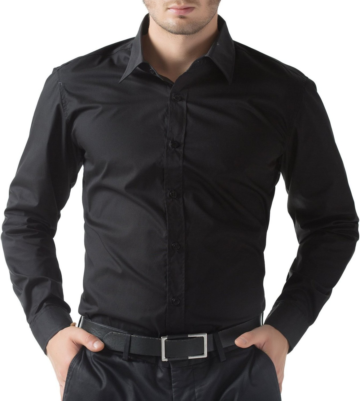 Fab Boys: Being Fab Men's Solid Casual Black Shirt