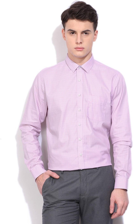 Van Heusen Men's Checkered Formal Pink Shirt - Buy Light Pink with ...