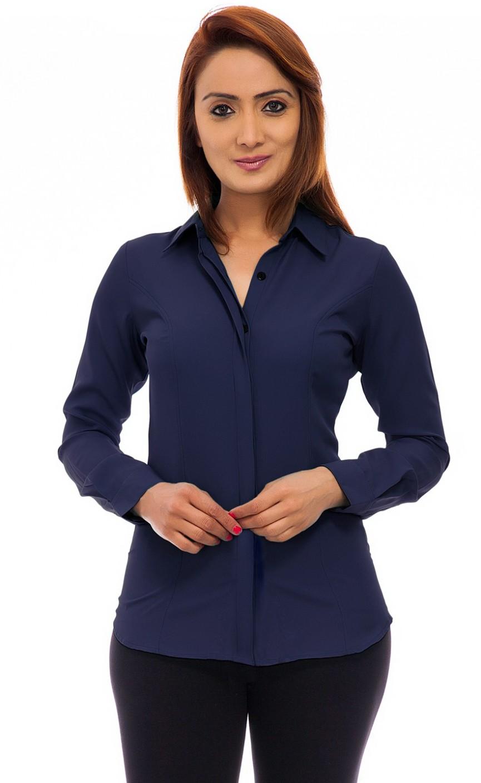 Femninora women 39 s solid formal dark blue shirt buy dark for Navy blue color shirt