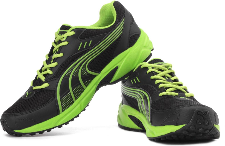 Puma Black And Green Mesh Running Sports Shoes