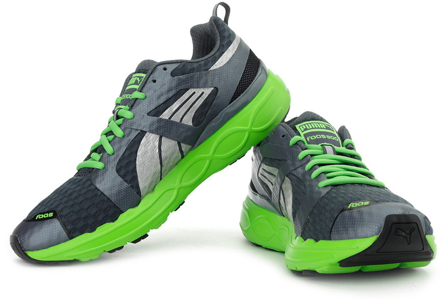 Puma Black And Green Mesh Running Sports Shoes