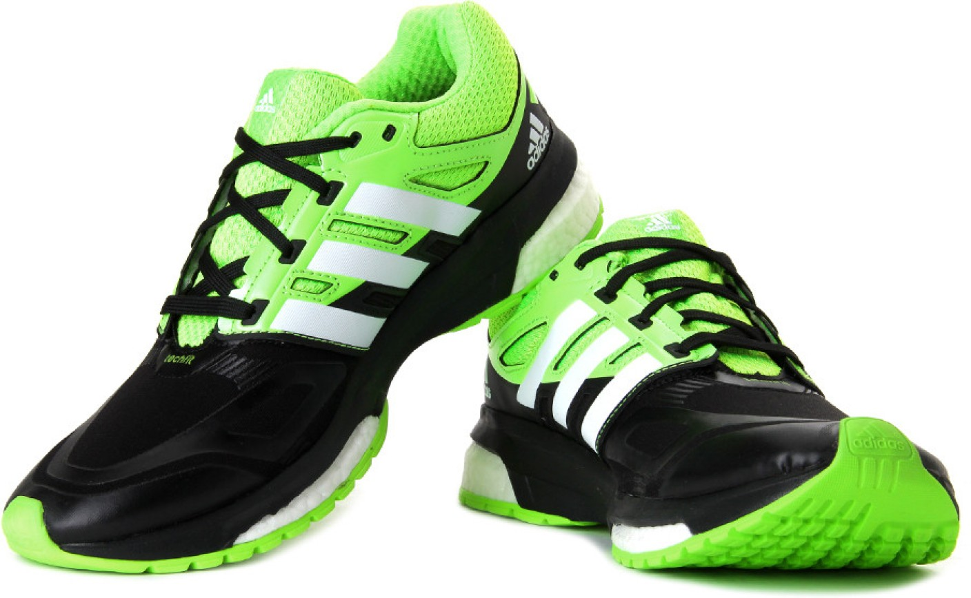 Black And White Adidas Running Shoes Green Tip
