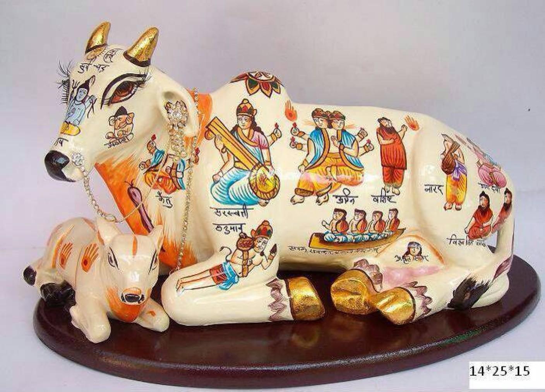Vivx Kamdhenu Fortune Luck Sitting Cow With Calf Statue