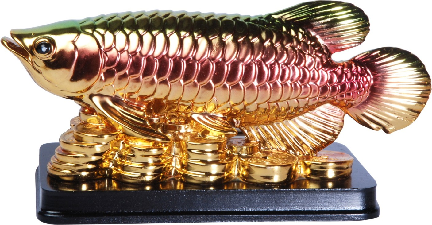 Oyedeal feng shui arowana fish with gold coins showpiece for Arowana tank decoration