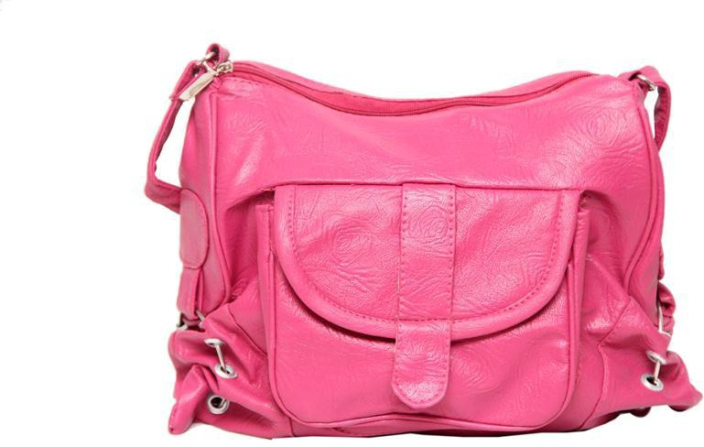 Borse Women Casual Pink PU Sling Bag Pink - Price in India ...
