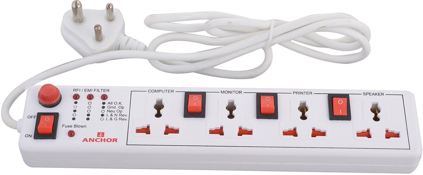 anchor spike guard 4 way with individual switch 4 socket