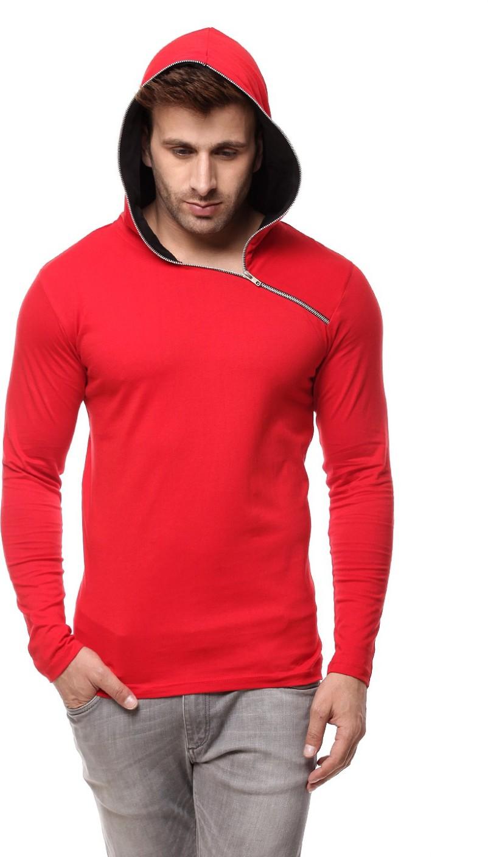 Gritstones solid men 39 s hooded black red t shirt buy red for Black white red t shirt