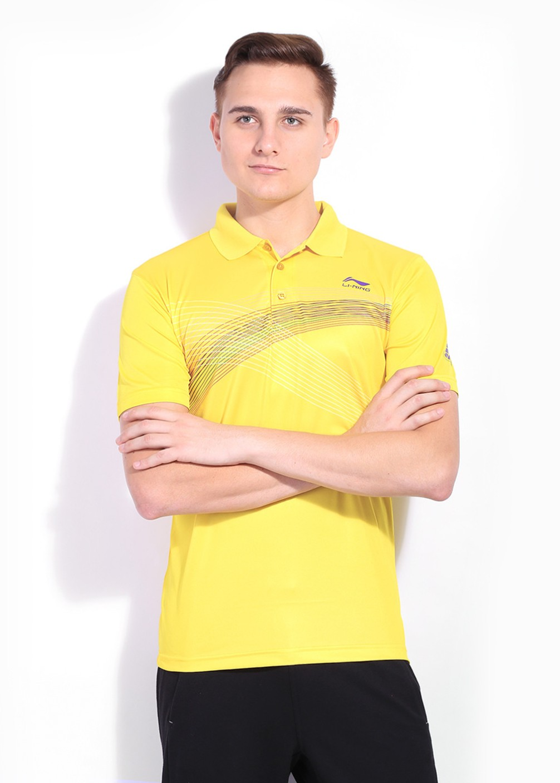 Li Ning Printed Men S Polo Neck Yellow T Shirt Buy
