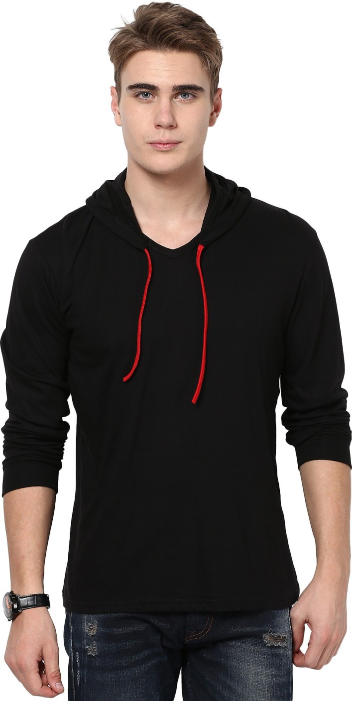 Black t shirt mens - Katso Solid Men S Hooded Black T Shirt On Sale