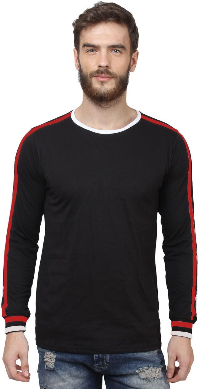 Sayitloud solid men 39 s round neck black white red t shirt for Black white red t shirt