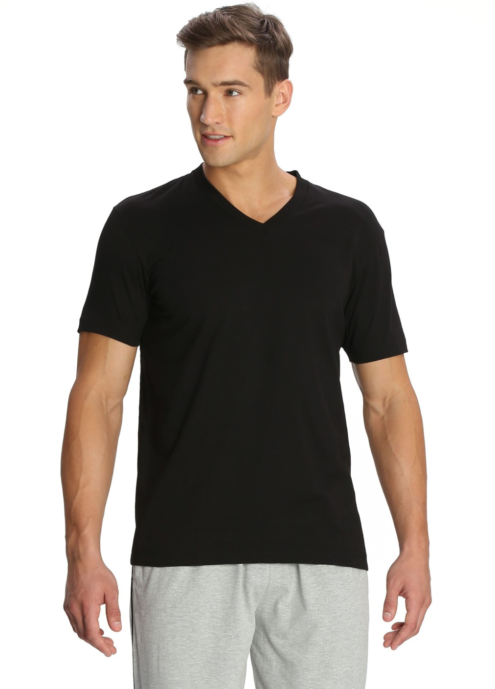 Jockey Solid Men 39 S V Neck Black T Shirt Buy Black Jockey