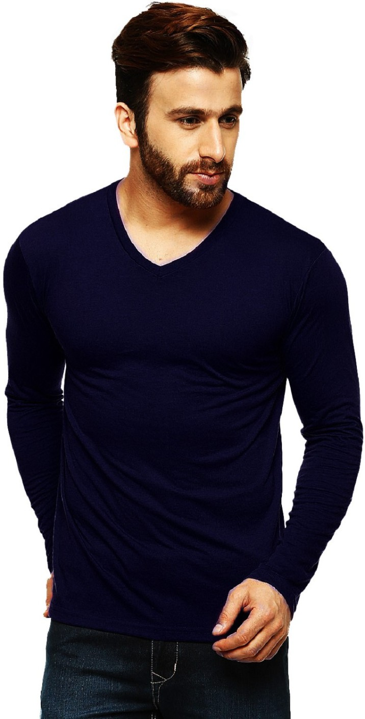 Tripr Solid Men 39 S V Neck Dark Blue T Shirt Buy Navyblue