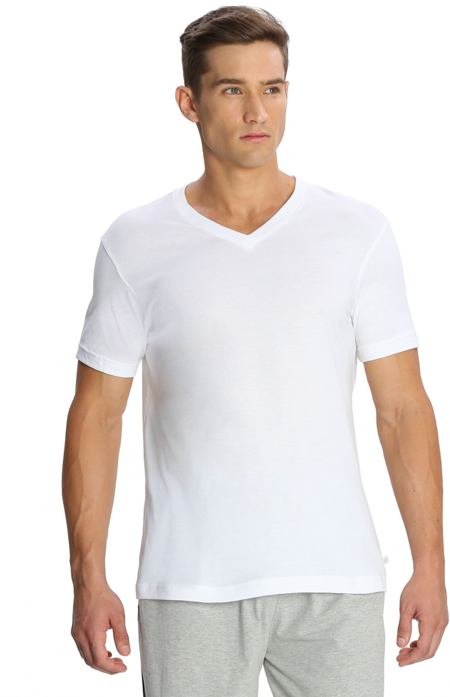Jockey Solid Men's V-neck White T-Shirt