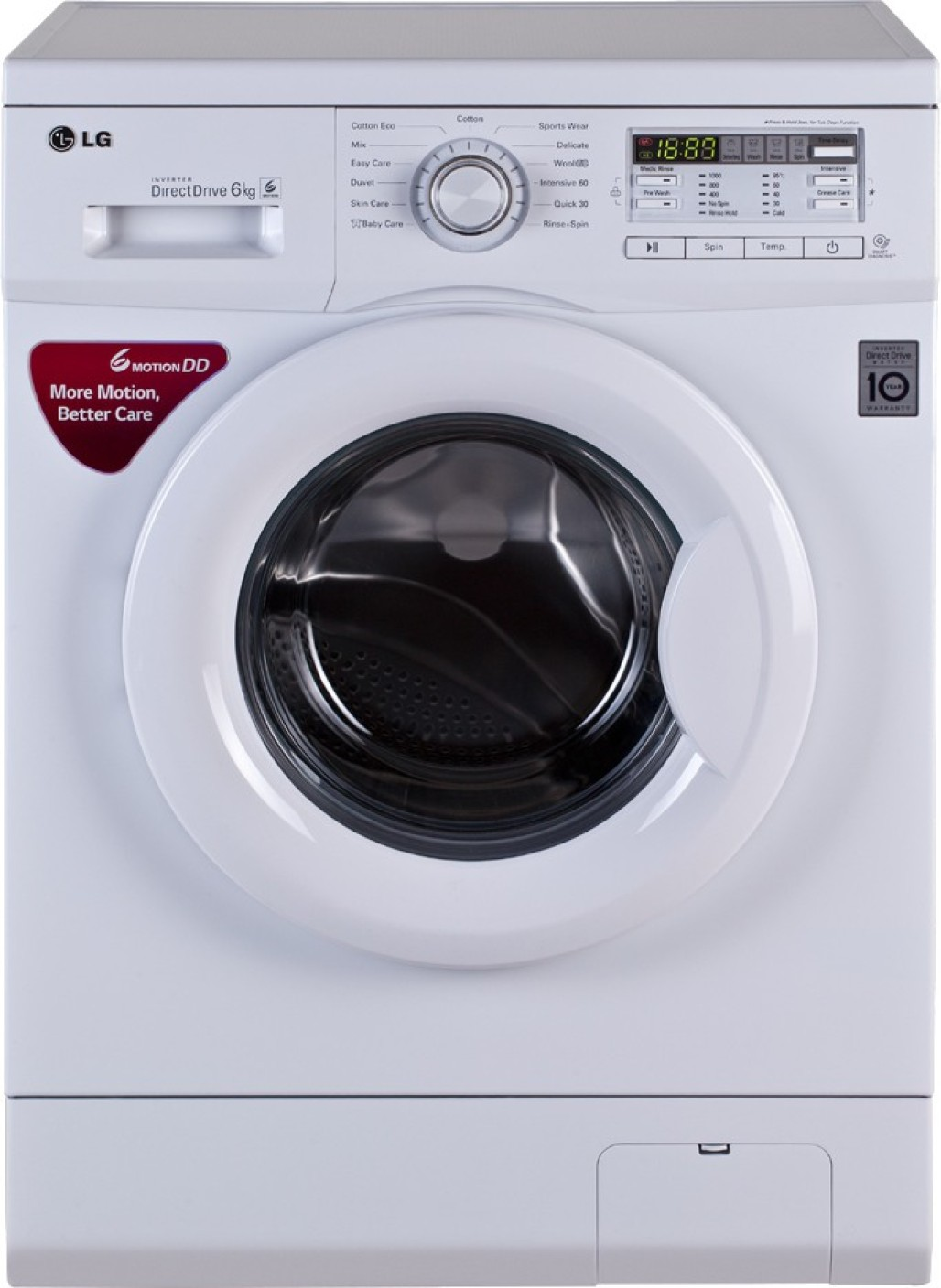 lg 6 kg fully automatic front load washing machine white. Black Bedroom Furniture Sets. Home Design Ideas