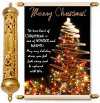 lolprint merry christmas gold scroll greeting card(multicolor, pack of 1)